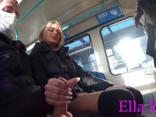 Jerking off a Stranger in  Public Train . Real Risky Amateur Outdoor Handjob by ELLA BOLT