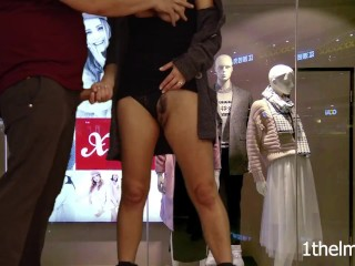 Horny at the mall? Helping hand for a quick cumshot. Risky public handjob