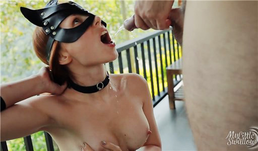 Sexy kitty gets piss and cumshot into mouth on the balcony