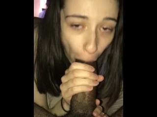 Deepthroat training on my BBC for my white slut