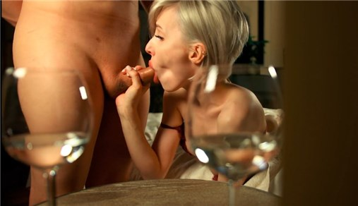 Short haired blonde gets hard fucks and cum in mouth