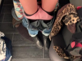 real risky sex and Blowjob in the dressing room of a lingerie store.