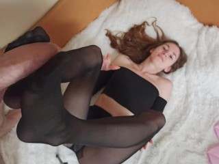 Footjob in nylon pantyhose with an end on the feet - LITTLE_KISS_KA