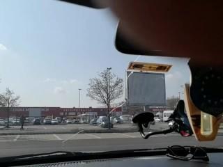 Hot blonde suck her boss's dick in a public parking-Car blowjob