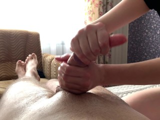 Hot wife make intense handjob till absoltely empty balls.
